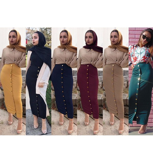 Moda Müslüman Kalem Etek Kadın Seksi Uzun Düz Renk Dipleri Paket Etekler Düğmeler Dekore Elastik Ince Siyah Lacivert Sarı Kalça Elbise