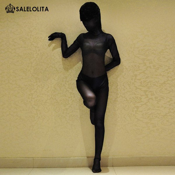 High Quality Sexy Deep Purple And Dark Gold Transparent Lycra Spandex Full Bodysuit Halloween Zentai Catsuit For Women