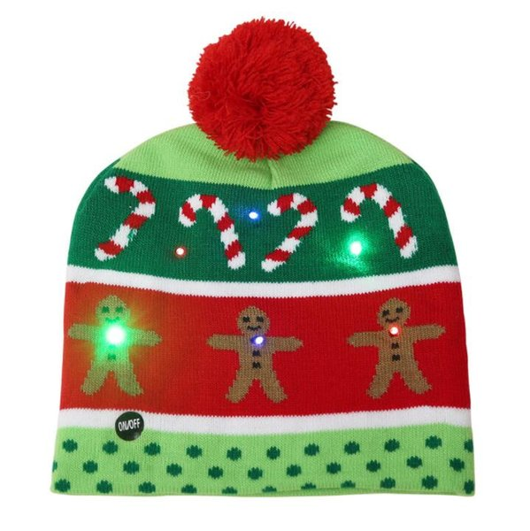 LED Christmas knitted Hat Scarf kid Santa Claus Snowman Reindeer Elk Festivals lighted up Hats Xmas Party Gifts Cap