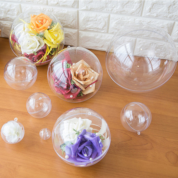 100pcs Christmas Tress Decorations Ball 4/5/6/7cm Transparent Open Plastic Clear Bauble Ornament Gift Present Box Decoration
