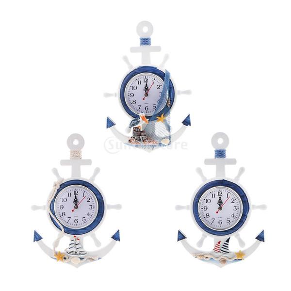 Mer Plage Naudical Thch Anchor Horloge Murale Décor Décor À La Maison Temps Mur Décor 33cm