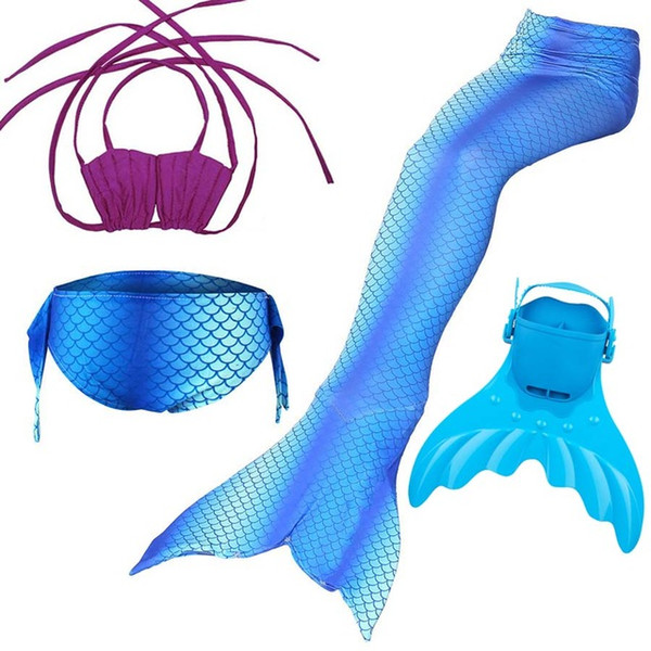 4PCS/Set 8 Colors Swimming Mermaid Tail Children Girl Swimmable Mermaid tail with Monofin Flipper Girl Swimsuit for Kids Fins