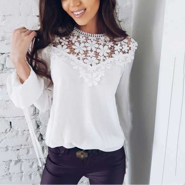 2019 Spring Summer Women Long Sleeve Lace Chiffon Blouses Floral Patchwork Crocheted Lace Chiffon Tops Hollow Out Chiffon Shirts