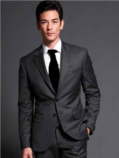 Yüksek Kalite Iki Düğme Koyu Gri Damat Smokin Groomsmen Notch Yaka Best Man Blazer Erkek Düğün Takımları (Ceket + Pantolon + Kravat) H: 829