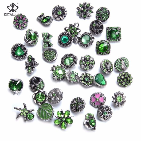 Royalbeier 36pcs/lot Mixed Rhinestone Styles Metal Charms 12mm Snap Button Jewelry For DIY Snaps Bracelet Eearrings Jewelry