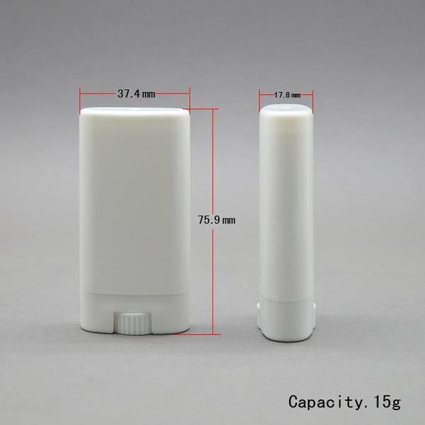 1000 unids 15g Plástico Vacío DIY Oval Bálsamo Labial Tubos Desodorante Portátil Contenedores Lápiz Labial Blanco Claro Moda Cool Lip Tubes lin3244