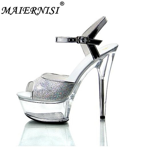 2019 New Nightclub Sexy Thick Bottom Car Models Shoes 15cm High-heeled Sandals Silver Sequins Wedding Shoes Plus Size 34-43