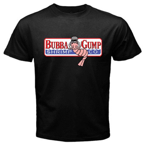 Bubba Gump Orman karides deniz ürünleri co. Seksenlerin T-Shirt Siyah Temel Tee kısa kollu erkek Tee T gömlek o-boyun örme rahat kumaş