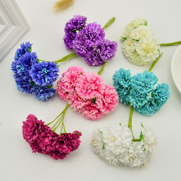 6 pz / lotto garofano fiori artificiali fiori scrapbooking sposa copricapo fai da te materiali fatti a mano fiore decorativo 3 CM
