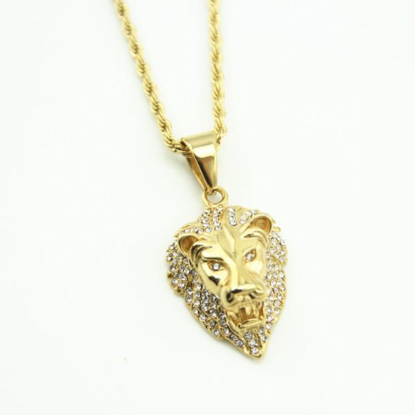Hot Hip Hop Jewelry Big Lion Head Pendant Gold Color Figaro Chain For Men Kpop Statement Necklace Collier Wholesale gold chains for men
