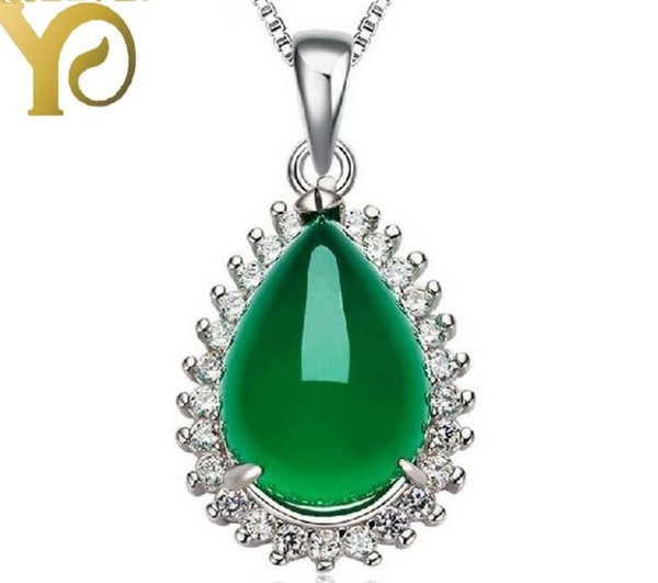100% S925 pure silver marble pendant fashion simple green jade pendant necklaces women fashion style jewelry