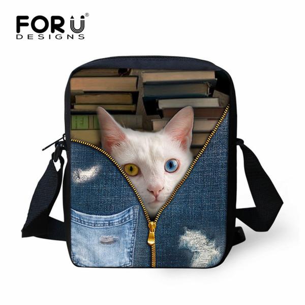 FORUDESIGNS Denim Zipper Cat Dog Design Student Mini School Bags Preschool Kids Small Crossbody Bags Boys Girls Fashion Bookbags