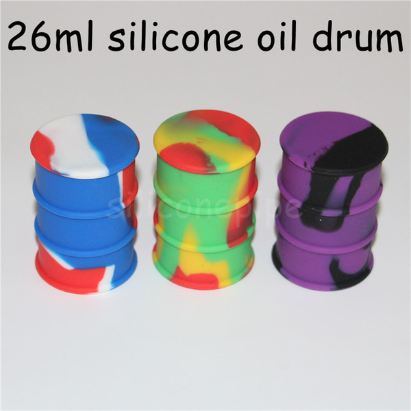 Factory Price Silicone Oil Barrel Container Jars Dab Wax Vaporizer Oil Rubber Drum Shape Container 26ml Large Silicon Jar Bong Dabber Tool