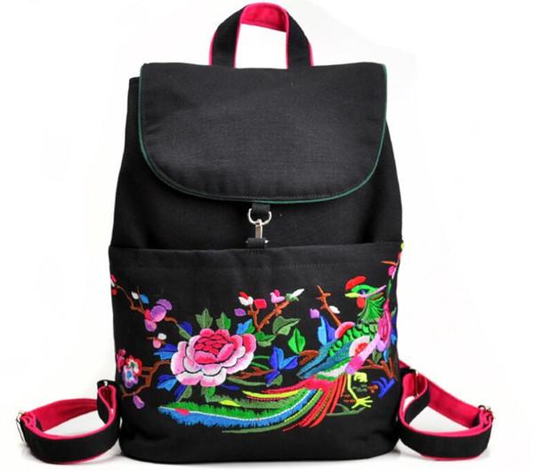 Backpack Travel Satchel Rucksack Laptop Shoulder School Bag Handbag Embroidered Student backpack canvas Casual women's backpack