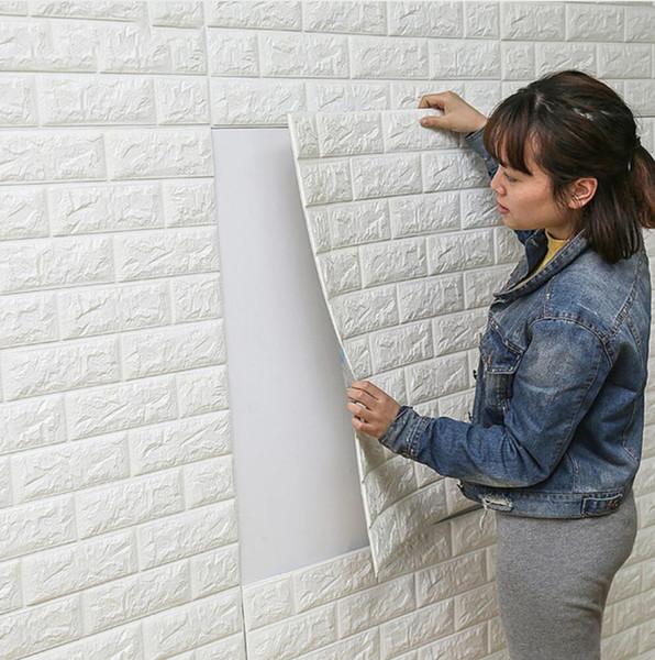Free Shipping DIY Self Adhesive 3D Wall Stickers Bedroom Decor Foam Brick Room Decor Wallpaper Wall Decor Living Wall Sticker For Kids Room2