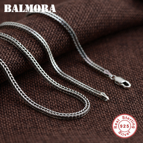 BALMORA 100% Pure 925 Sterling Silver Jewelry Chains Necklaces for Men Sterling Silver Necklace Accessories 18-30 inch JLWC60058 Y1891908