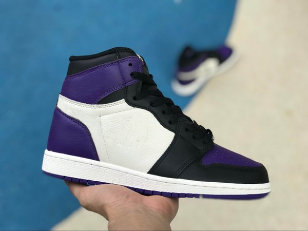 2018 New Mens 1 OG Court Purple Top Men Basketball Shoes 1S OG Sneakers Mandarin duck Trainers Brand Luxury Designer Sports Top Quality