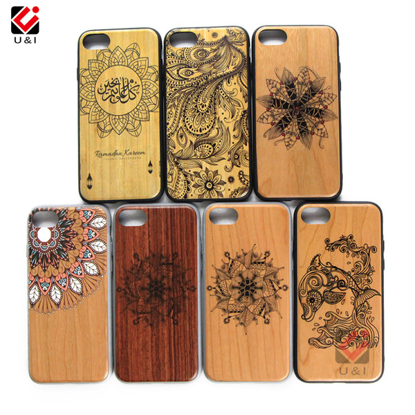 Bulk sale hot wood cell phone case for iPhone 7plus 8plus 7 8 plus, laser engrave design bamboo wooden cover for i Phone