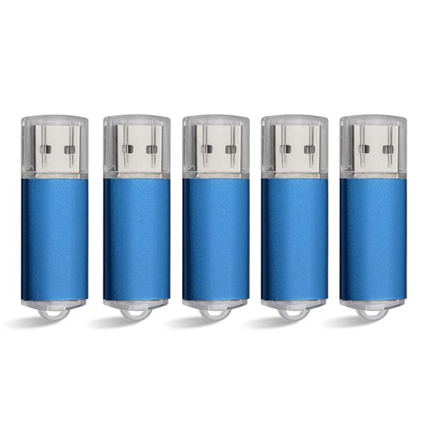 Blue 5PCS/LOT Rectangle USB 2.0 Flash Drive Flash Pen Drive High Speed Memory Stick Storage 1G 2G 4G 8G 16G 32G 64G for PC Laptop Thumb Pen