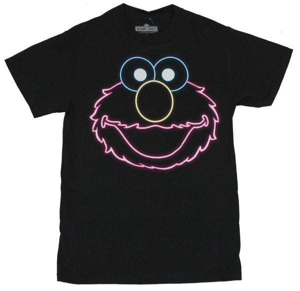 Sesame Street Mens T Shirt - Elmo Neon Face sur Noir Hommes 2018 mode Marque T Shirt O-Cou 100% coton