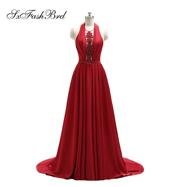 Girls Dress Elegant Sexy Halter Neck With Beading Open Back Red Long Party Formal Evening Dresses for Women Prom Dress Gowns