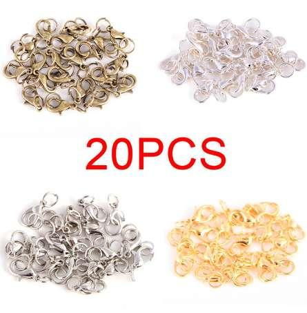 20Pcs Lobster Claw Clasps Jump Rings split Ring Boho style Making Hook Beads Crimp End Spring Necklace Snap Chains connector set