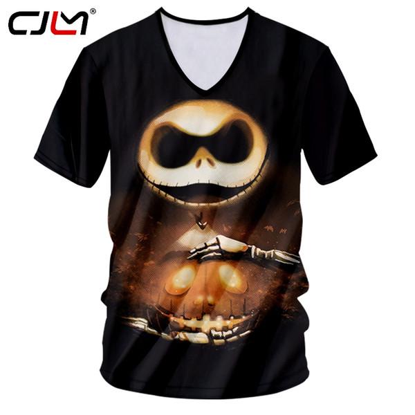 CJLM T-shirt Homme Hot V-neck Slim Fit Anime 3D Tshirt Printed Christmas Eve Streetwear Large Size Habiliment Man Spring T Shirt