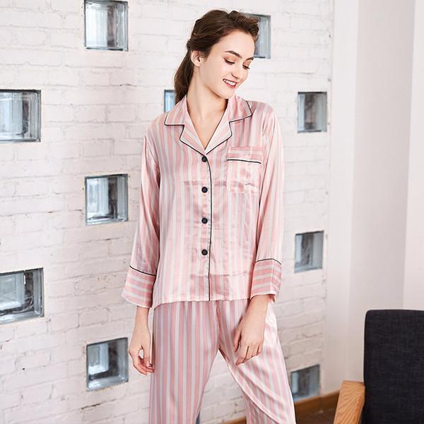 pijamas de seda bordado senhoras vermelho e branco linhas calças de manga comprida serviço de casa terno