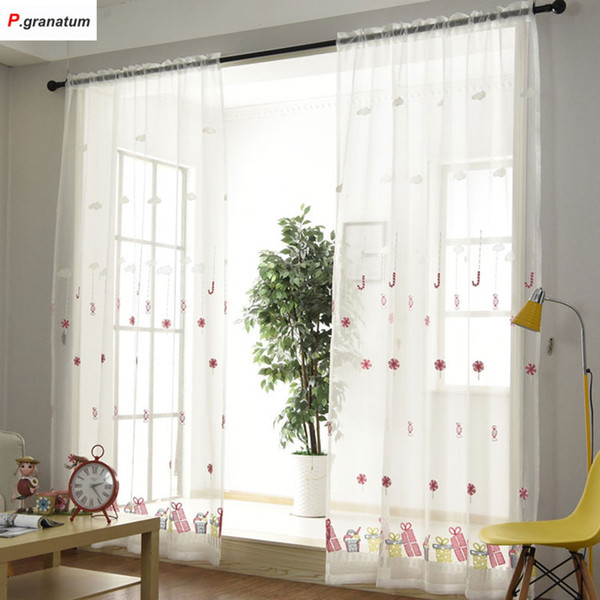 2019 Single Panels Sheer Christmas Curtains For Living Room Kids Decoration Pink Embroidered Voile Curtains For Children From Bowstring 46 4