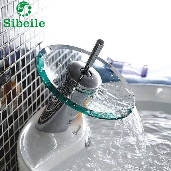 SBLE Bathroom Glass Edge Waterfall Basin Deck Mounted Sink Mixer Tap Faucet Chrome Polished Faucet Tap With Water Inlet Pipe