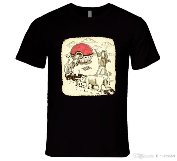 Cool Funny T Shirt High Quality Tees NOHA'S POKEBALL, CATCHING THEM ALL FUNNY PARODY BIBLE T Shirt Hip-Hop Tops Tees