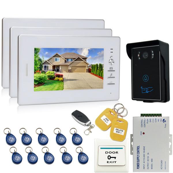 JEX 7`` interphone vidéo sonnette porte interphone système interphone kit 700TVL étanche caméra RFID d'accès + télécommande 1V3