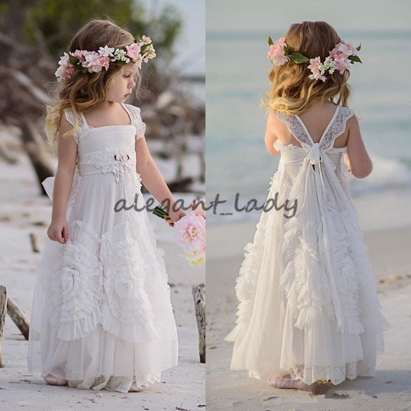 Dollcake Flower Girl Dresses Special Occasion For Weddings Ruffled Kids Pageant Gowns Flowers Floor Length Lace Party Communion Dress Sash
