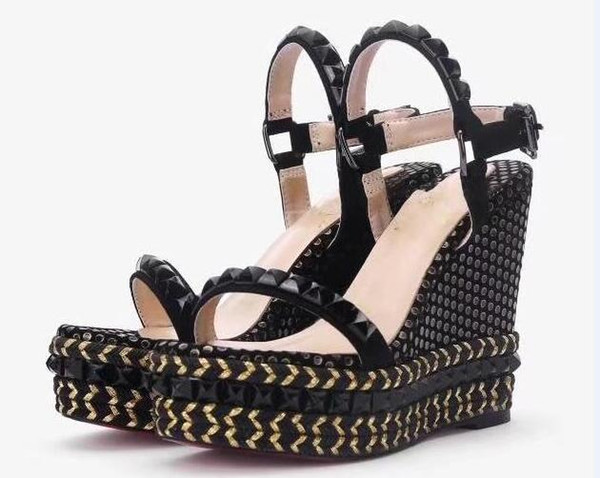 Women Pyraclou 11cm Wedges Sandals Shoes,striated pyramid studs,Women Slippers,Women Leather shoes,Size 35-40,Free Shipping