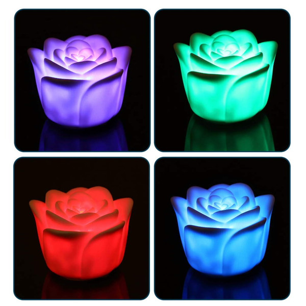 Changing 7 Colors Rose Flower LED Light Night Candle Light Lamp Romantic