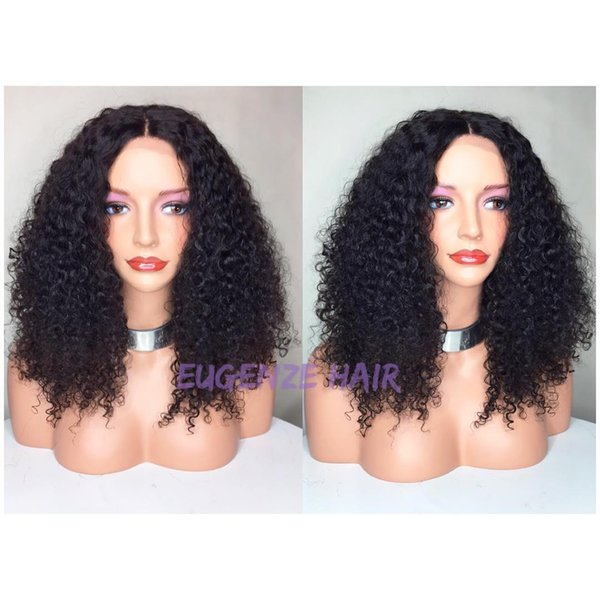2018 6a 100% unprocessed remy virgin soft shine human hair natural color medium afro curly full lace wig for women