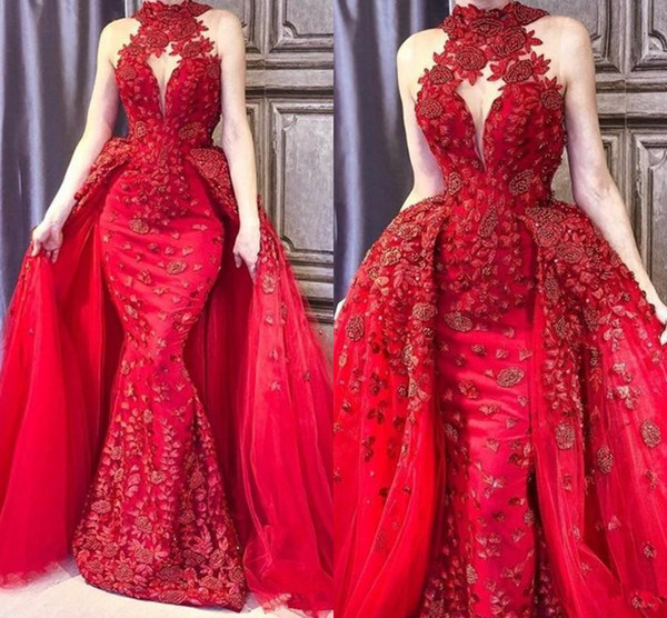 Glamorous Mermaid 2018 Prom Dress With Overskirt High Neck Beads Lace Applique Sleeveless Evening Dresses Stylish Arabia Dubai Prom Dress