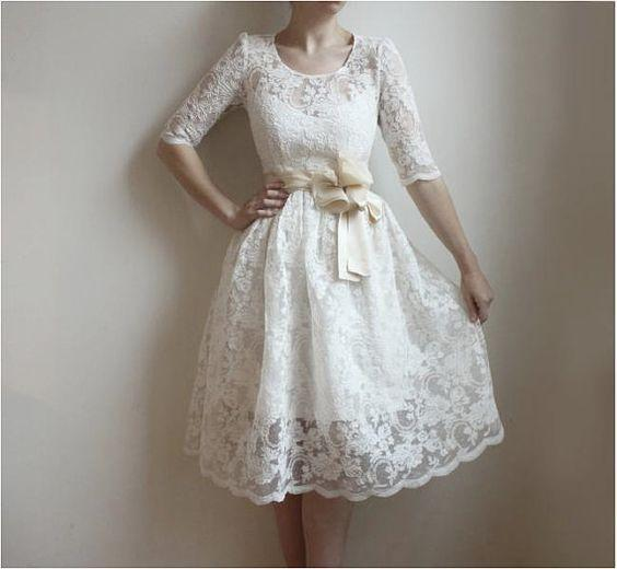 Free Shipping ATTRACTIVE Discount New Fashion Casual Civil Vintage 1950s White Beach Summer Baptism Wedding Dress For Juniors