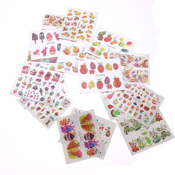 18 Sheets Summer Fruits Cake Ice-cream Water Nail Art Stickers Decals Gel Polish Trendy Nail Deacal
