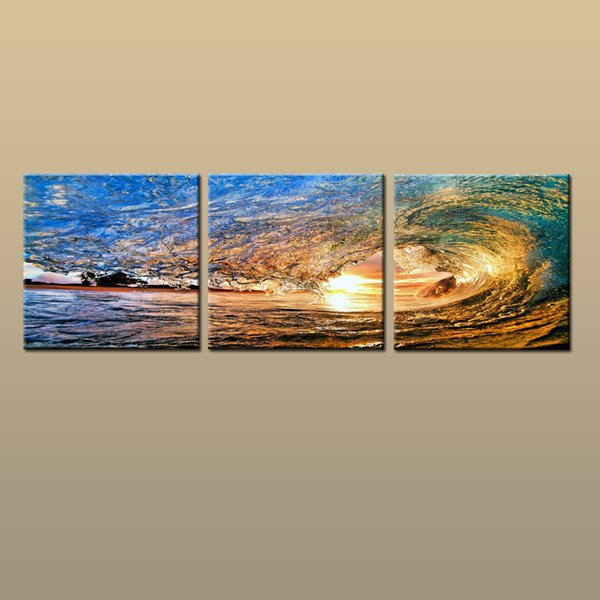 Framed/Unframed Large Canvas Modern Home Decor HD Prints oil painting Art Sea wave Seascape Picture 3 piece Living Room Decor abc262