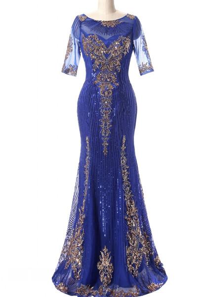 Mermaid Long Evening Dresses With Paillettes Royal Blue Gold Paillettes Abito da sera formale Prom Kaftan Dubai