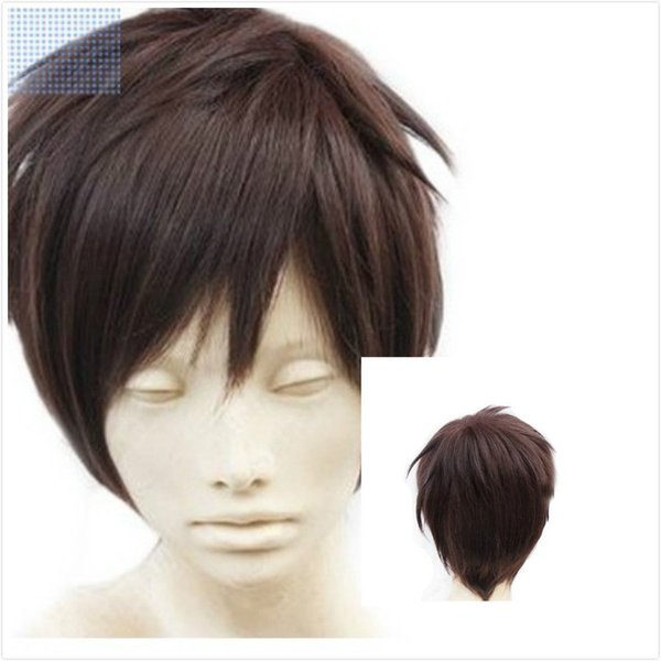 Free shipping New High Quality Fashion Picture wig >>Women/Men Attack on Brown Short Straight Cosplay Costume Synthetic Wigs Cosplay