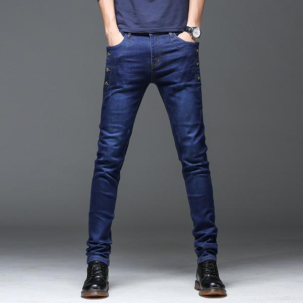 Novo 2018 Projeto Homens Jeans Preto Azul Botões Mens Skinny Jeans Calça Jeans Slim Fit Calça Jeans Masculina Estilo Coreano Denim Calças Homem
