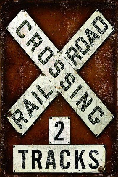 Railroad Crossing Two Tracks Retro Metal Sign Vintage Craft Tin Sign Retro Metal Painting Poster Bar Pub Wall Art UV291