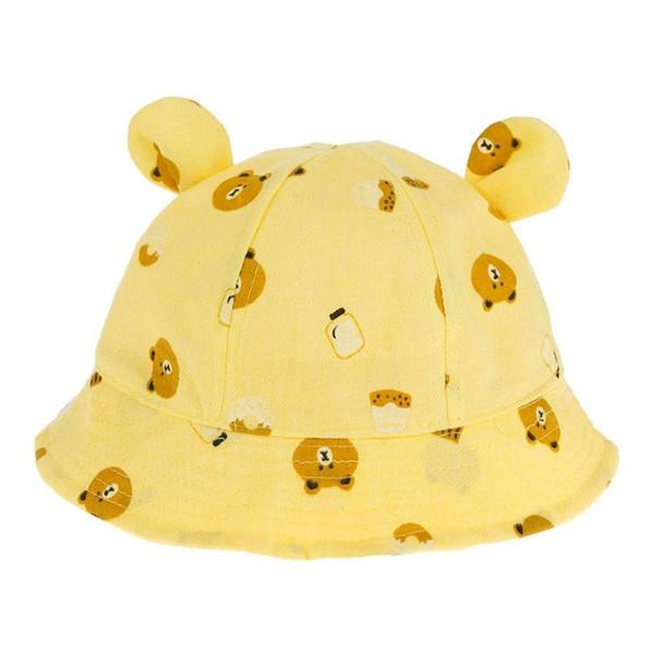 Baby Summer Hat Cotton Baby Hat Cartoon Cute Bear Print Toddler Kids Bucket Sun Cap Boys Girls Photography Props Hat