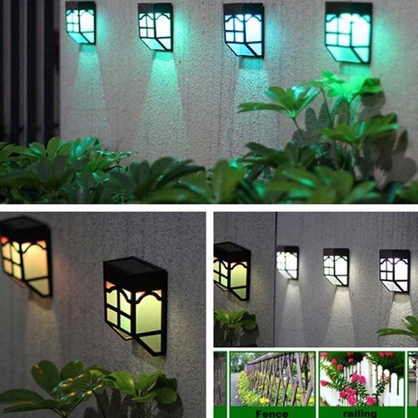 Solar Wall Light 7 Color changeable Waterproof Energy Fence Lamps for Garden Landscape Street Stair With Three-way Switch