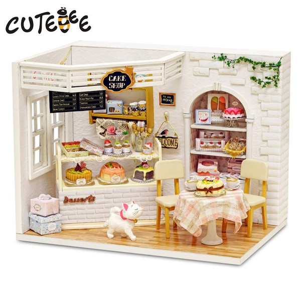 Doll House Furniture Diy Miniatura Dust Cover 3D Miniaturas de madera Dollhouse Juguetes para niños Regalos de cumpleaños Cake Diary H14