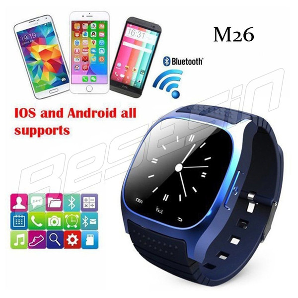 Retail Sale Smart Bluetooth M26 Watch with LED display / Dial / SMS Reminding / Music Player Pedoeter wristwatch for Mobile Phone