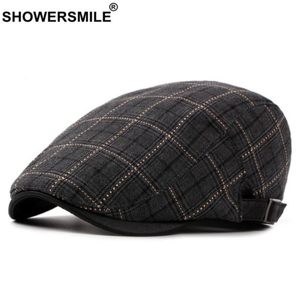 SHOWERSMILE Classic Berets For Men Plaid Cotton Adjustable Flat Cap Male Checkered England Style Summer Autumn Ivy Duckbill Hat