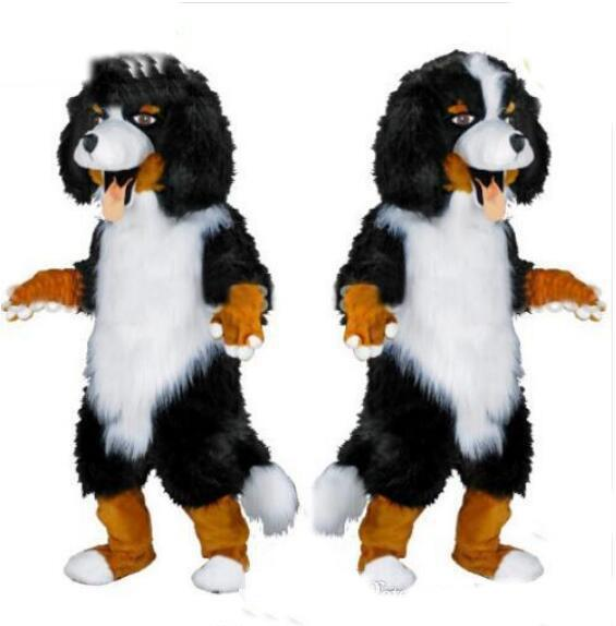 Fast design Custom White & Black Sheep Dog Mascot Costume Cartoon Character Fancy Dress for party supply Adult Size